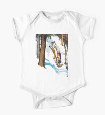 calvin and hobbes happy snow One Piece - Short Sleeve