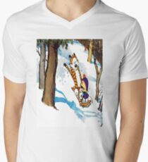 calvin and hobbes happy snow Men's V-Neck T-Shirt