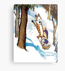 calvin and hobbes happy snow Metal Print