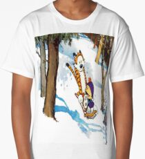 calvin and hobbes happy snow Long T-Shirt