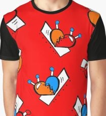 Hearts with Stitches - Blue Red Orange - Bright Red Graphic T-Shirt