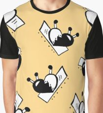 Hearts with Stitches - Black with Soft Mustard Graphic T-Shirt