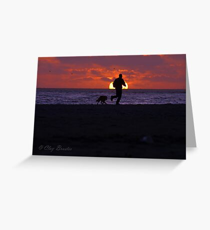 Sunset Run With Best Friend Greeting Card