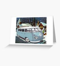 Vw Split screen retro Xmas Greeting Card