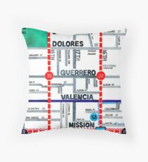 San Francisco map - Mission Throw Pillow