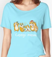 Corgi Mom Shirt Christmas Party edition Women's Relaxed Fit T-Shirt