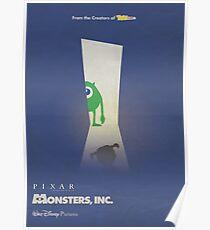 Monsters inc., 3D animated, minimal movie poster, alternative cartoon playbill, Pete Docter, John Goodman, Billy Crystal,  Poster