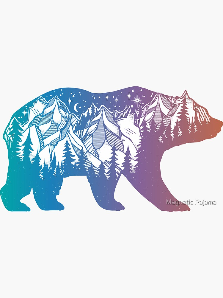 California Bear with Mountains Landscape and Trees Rainbow Silhouette by MagneticMama