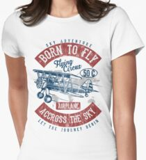 BORN TO FLY - Vintage Airplane Retro Airplane Shirt Women's Fitted T-Shirt