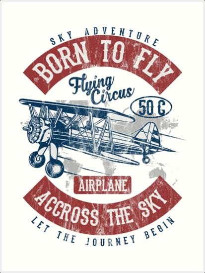 595e0e90 BORN TO FLY - Vintage Airplane Retro Airplane Shirt