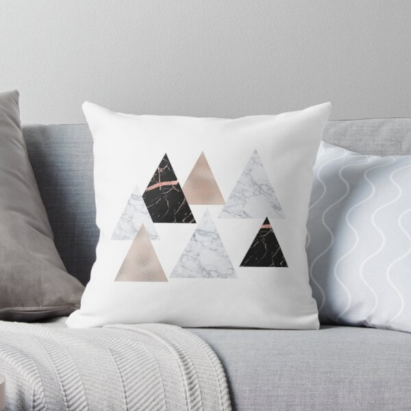 Rose gold marble geo triangles Throw Pillow