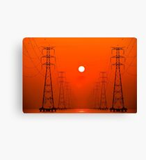 Towering tower and sunset burning red Canvas Print