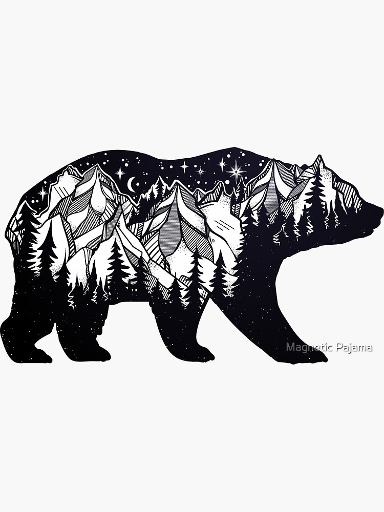 Wanderlust California Bear Silhouette with Mountains Landscape, Trees, Moon & Stars by MagneticMama