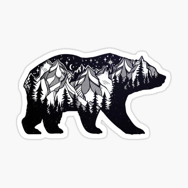 Wanderlust California Bear Silhouette with Mountains Landscape, Trees, Moon & Stars Sticker