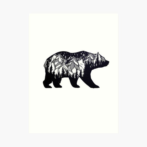 Wanderlust California Bear Silhouette with Mountains Landscape, Trees, Moon & Stars Art Print