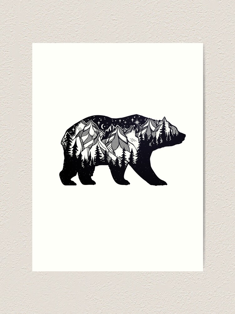 Alternate view of Wanderlust California Bear Silhouette with Mountains Landscape, Trees, Moon & Stars Art Print
