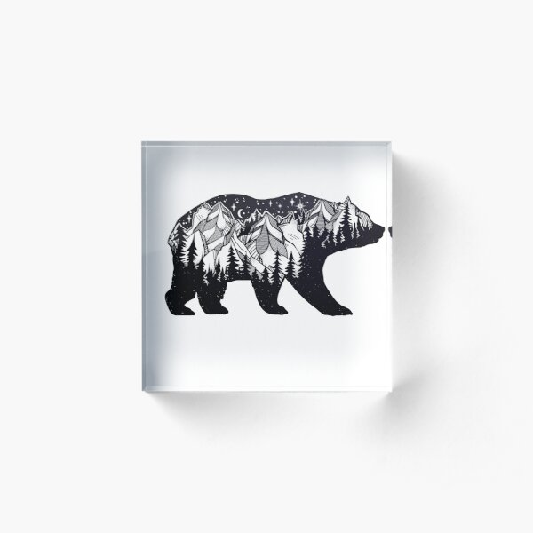 Wanderlust California Bear Silhouette with Mountains Landscape, Trees, Moon & Stars Acrylic Block