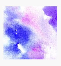 Watercolor texture transparent marble blue and purple Photographic Print