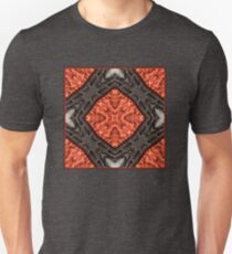 Red Geometric Leather Pattern with Black Stitching Unisex T-Shirt