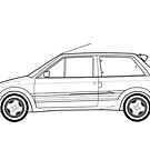 Citroen AX GTI Outline Artwork by RJWautographics