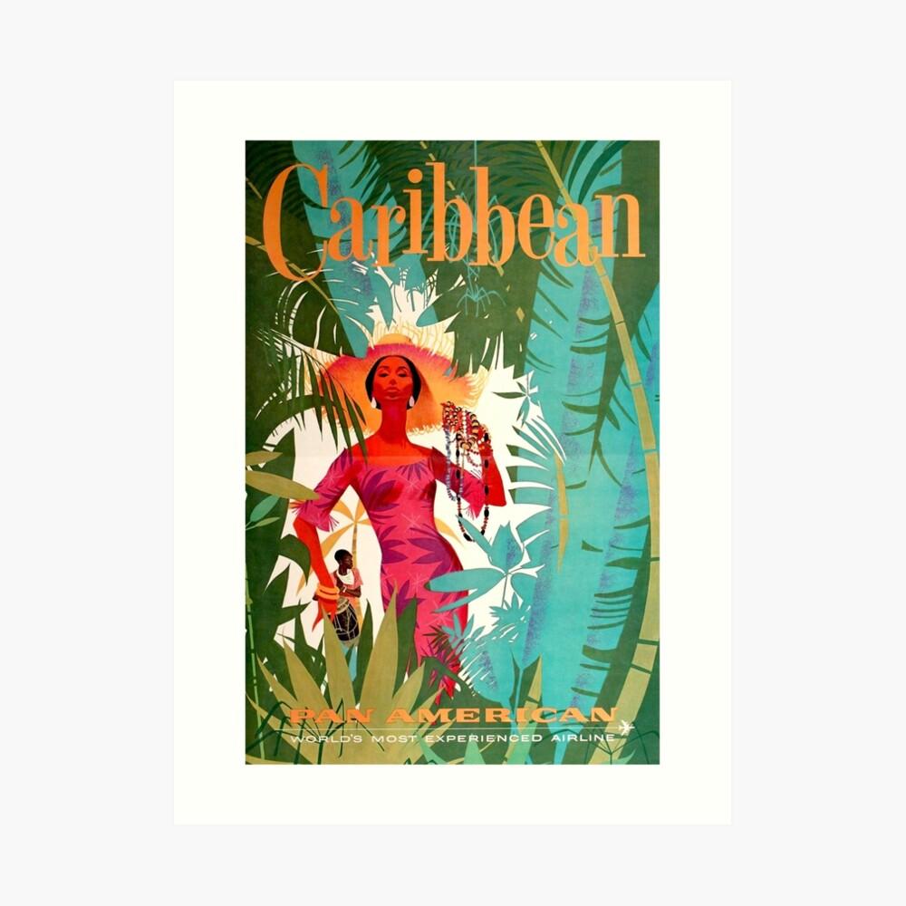 Weinlese-karibisches Reise-Plakat Kunstdruck