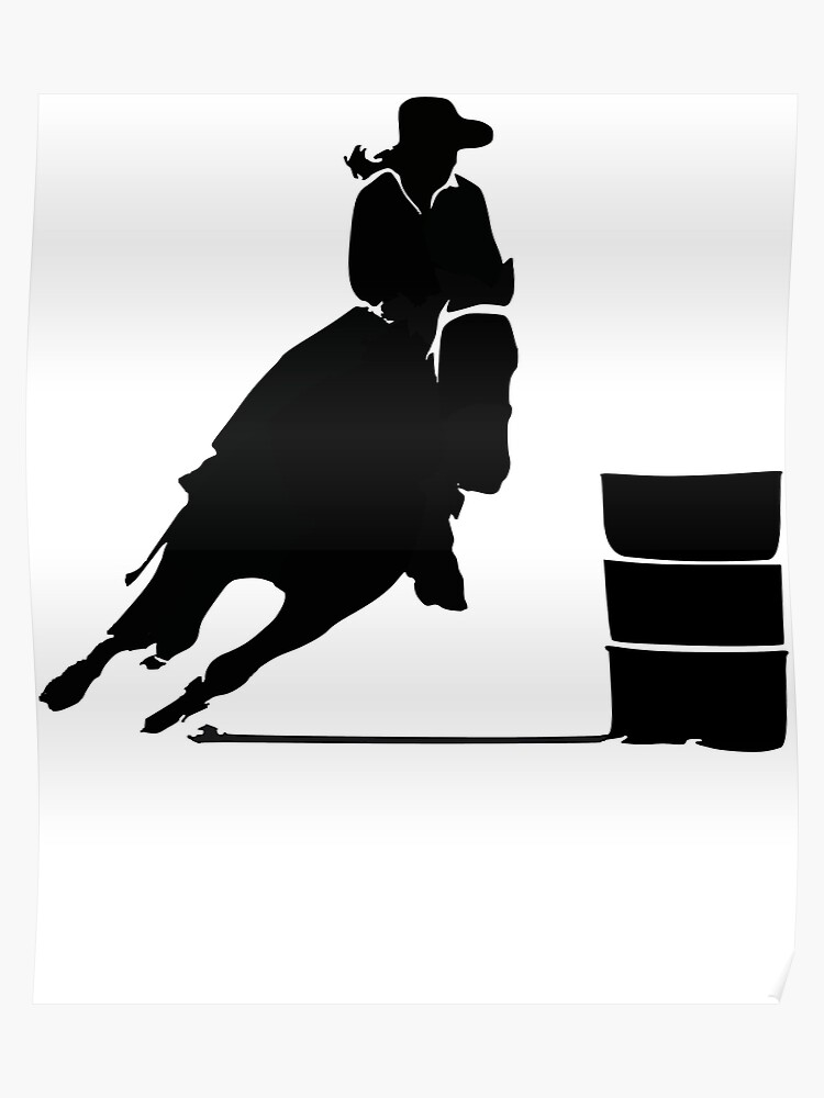 1a41c72acb351 Western Cowgirl Barrel Racing Rider Rodeo Horse Riding Race T-Shirt Poster