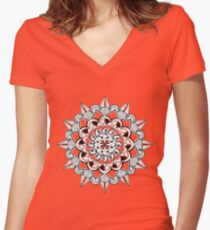 Mandala - ink drawing - partly transparent Women's Fitted V-Neck T-Shirt