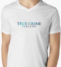 blue text V-Neck T-Shirt