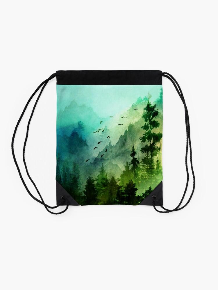 Alternate view of Mountain Morning  Drawstring Bag