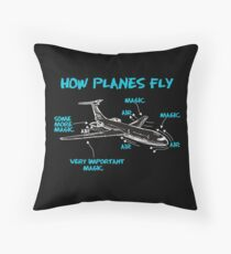 Funny Engineering T Shirts Gifts-How Plane Fly for Womens Mens Throw Pillow