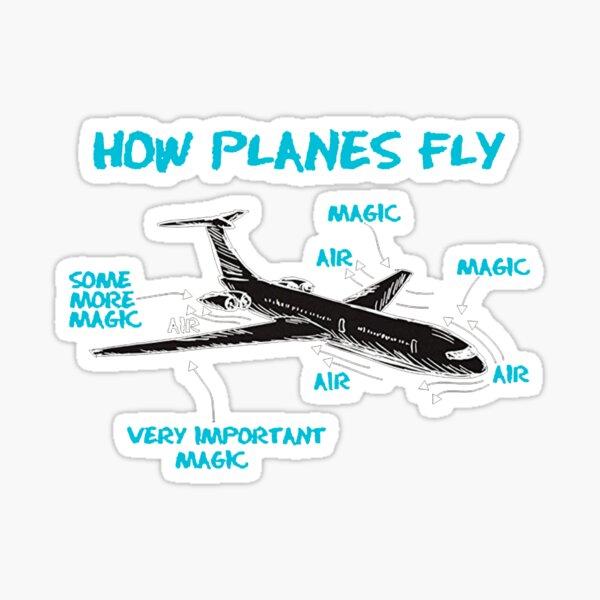 Lustige technische T-Shirts Geschenke-wie Flugzeug fliegen für Damen Herren Sticker