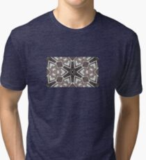 Leather snowflakes,  Black, gray, white, hand stitched - Winter Theme Tri-blend T-Shirt