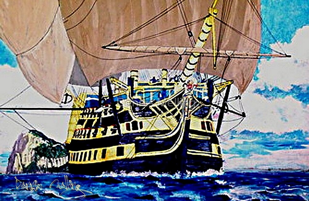 My acrylic painting of HMS Victory en route to the Battle of Trafalgar by Dennis Melling