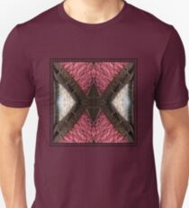 Rosy Red Geometric Pattern in Leather with Black Stitching Unisex T-Shirt