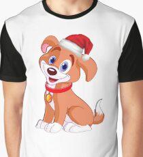 Merry Christmas Dog Tshirt with Santa Hat Graphic T-Shirt
