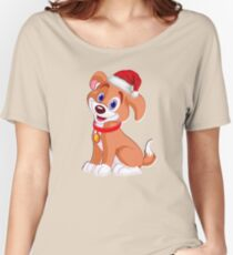 Merry Christmas Dog Tshirt with Santa Hat Women's Relaxed Fit T-Shirt