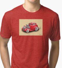 HOT ROD CAR CHEV STYLE RED Tri-blend T-Shirt