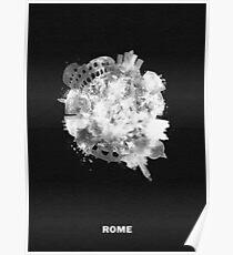 Rome, Italy Black and White Skyround Art / Circular Panoramic Skyline Painting (Inverted Version) Poster