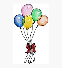 Watercolor Balloons With Cute Bow  Photographic Print