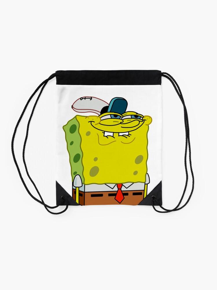Alternate view of Grinning Spongebob - Funny Spongebob Meme Shirt Drawstring Bag