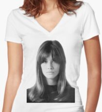Françoise Hardy Women's Fitted V-Neck T-Shirt