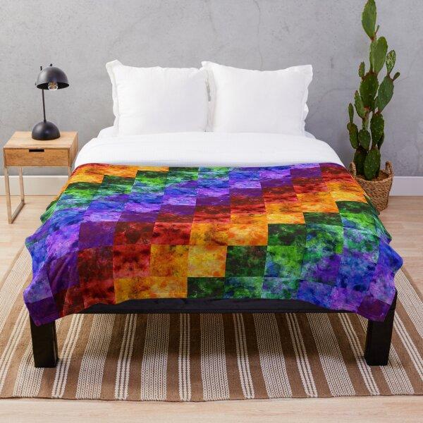 Rainbow Spectrum Quilt Throw Blanket