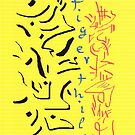 2508 - Tigerthilo Design Black Blue Red Yellow Calligraphy Vertical Style by tigerthilo