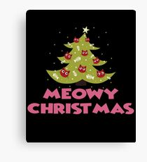 Meowy X'mas Cat Christmas Tree Ugly Sweater Christmas Canvas Print