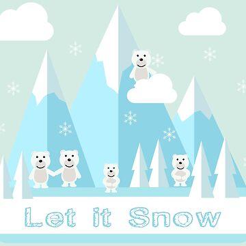 Let It Snow.Bears.Mountains.Snowflakes.Nature by Mia-Kara