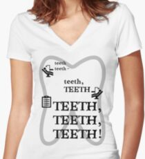 TEETH TEETH TEETH - full tweet version Women's Fitted V-Neck T-Shirt