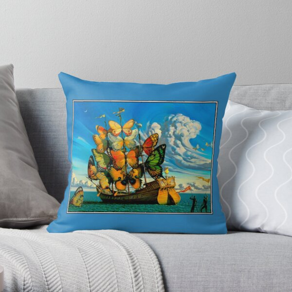 BUTTERFLY SHIP : Vintage Surreal Abstract Fantasy Print  Throw Pillow