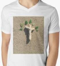 Cross in the Sand with Sea Glass Men's V-Neck T-Shirt