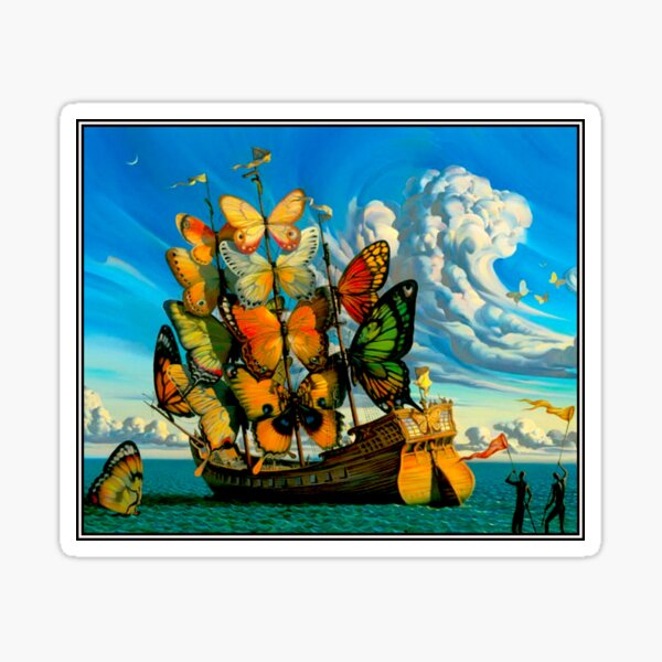 BUTTERFLY SHIP : Vintage Surreal Abstract Fantasy Print  Sticker