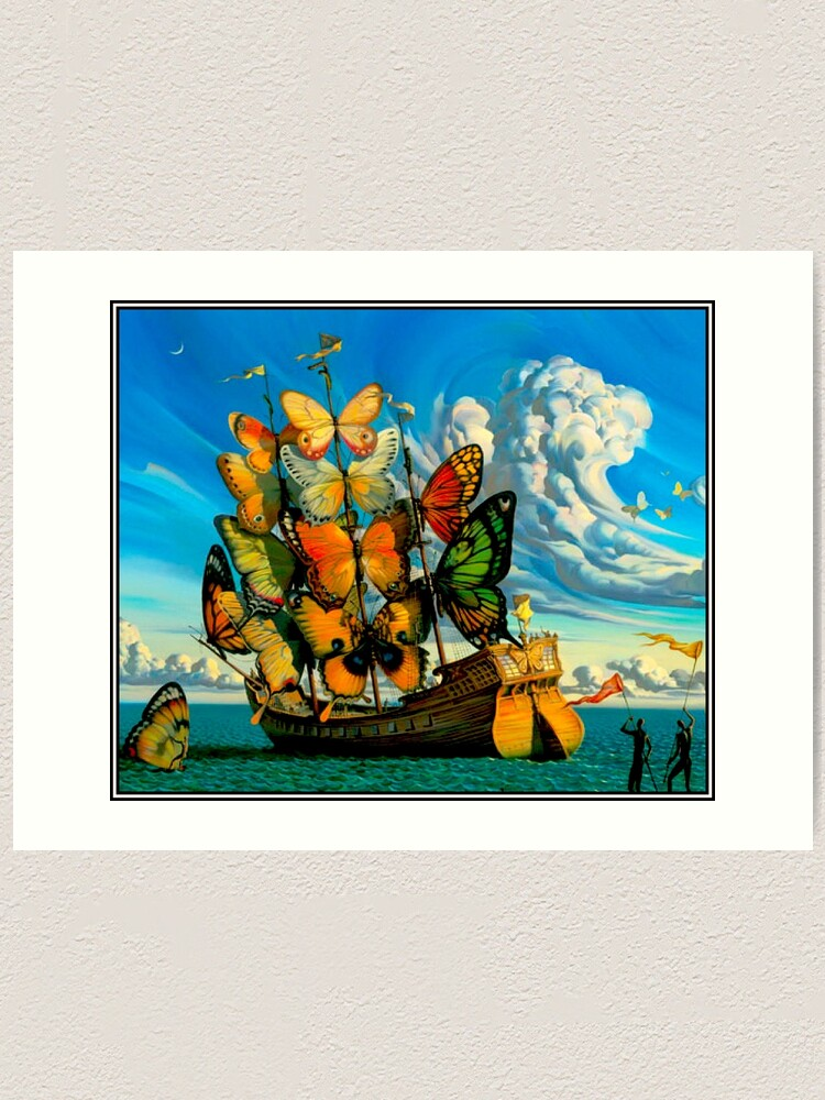 Alternate view of BUTTERFLY SHIP : Vintage Surreal Abstract Fantasy Print  Art Print